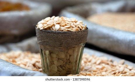 Pumpkin seeds also known as pepita. Typically flat and asymmetrically oval, white outer husk.Seeds are nutrient, calorie rich with high content of fat,poriten, dietary fiber & numerous micronutrients.
