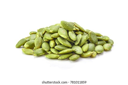 Pumpkin seeds on a white background