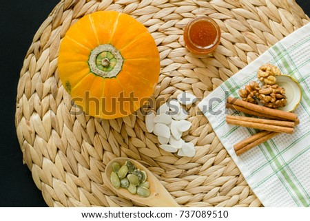 e13e3d35b Pumpkin Seeds Peeled Seeds Wooden Spoon Stock Photo (Edit Now ...