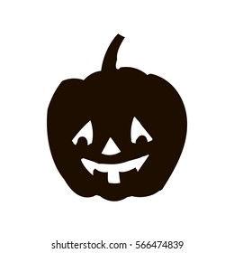 Pumpkin silhouette icon of the day halloween isolated on white background