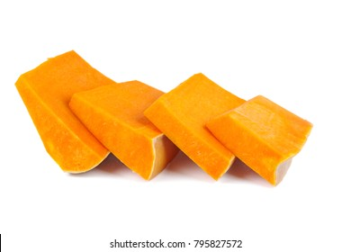 Pumpkin slices isolated on white background