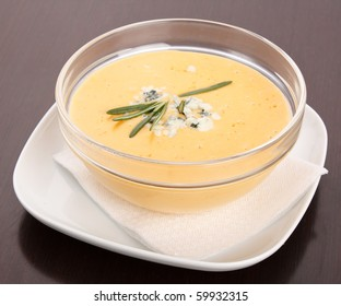 pumpkin soup with blue cheese