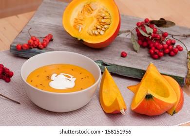Pumpkin Soup, Pumkin Slices and Rowanberries Bunch