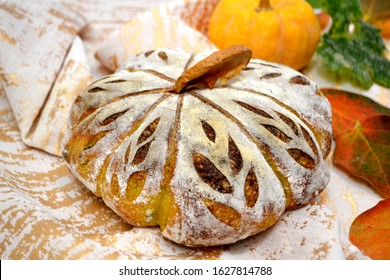 Pumpkin sourdough bread with pumkin seeds and hokaido pumpking mash