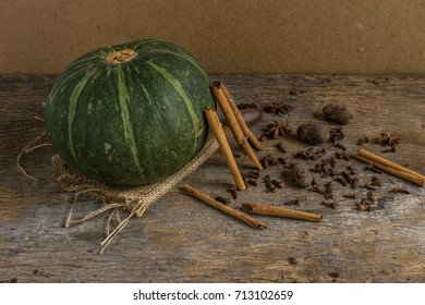 pumpkin with spice for make food or dessert in autumn
