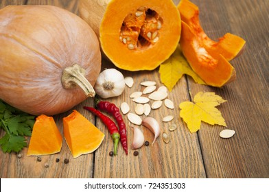 Pumpkin and spices - ingredients cooking cream soup