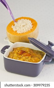 pumpkin stew, spinach, rice, white, casserole, food, vegetarian, vegan, veggie, cooked vegetables,cooking pot, curry, boiled, herbs, pot