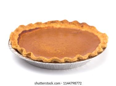 Pumpkin or Sweet Potato Pie on a White Background