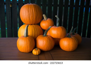 Pumpkin in various shapes and colors.