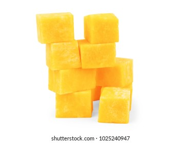 Pumpkin vegetable cube slice isolated on white background
