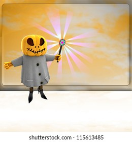 pumpkin witch with charming wand ahead of orange board template render illustration