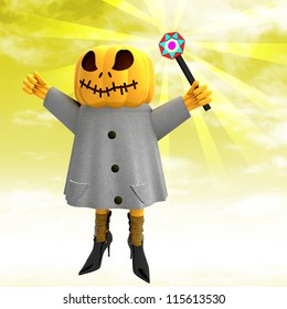 pumpkin witch with charming wand with yellow sunset background render illustration