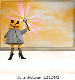 pumpkin witch with magic wand ahead of orange board template render illustration
