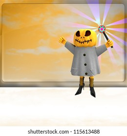 pumpkin witch with magic wand on right side ahead of orange board template render illustration