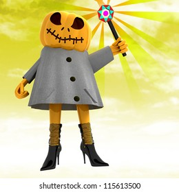 pumpkin witch with magic wand with yellow sunset background render illustration