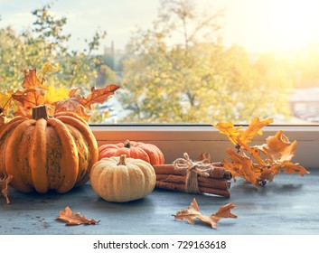 Pumpkins, cinnamon and yellow oak leaves on a table by the window on a sunset in Autumn. Autumn background, toned image.