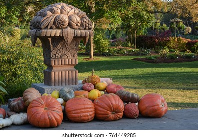 Pumpkins decorations at park in Holloween and fall season