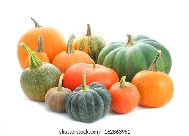 Pumpkins family. Group of different varieties fruits isolated on white background