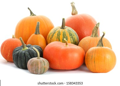Pumpkins family. Group of fruits isolated on white