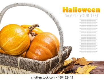 pumpkins for Halloween in a basket on a wooden table isolated on white background.  delete text