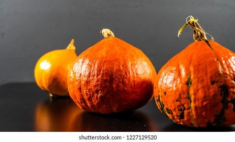 Pumpkins isolated on dark background, pumpkins on a black surface with a dark background, isolated pumpking