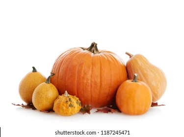 Pumpkins isolated on white