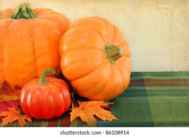 Pumpkins and leaves with a vintage look.  Close up with copy space.