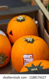 Pumpkins on halloween market