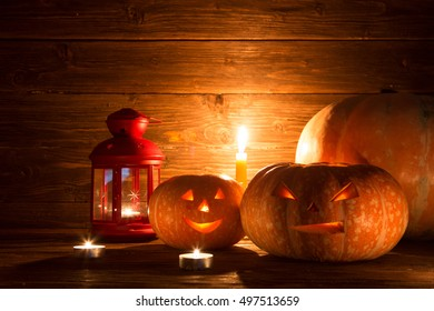 Pumpkins on wooden background with copy space. Halloween pumpkin background.