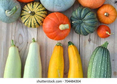Pumpkins and squashes on wooden background