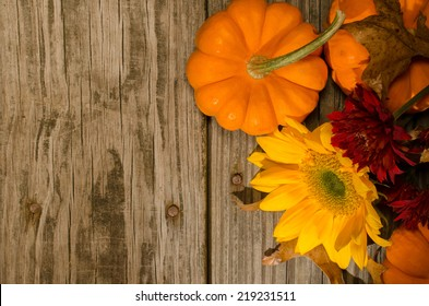 Pumpkins and Sunflower Top view of tabletop with mini pumpkins, dried leaves, a sunflower, and red mums.