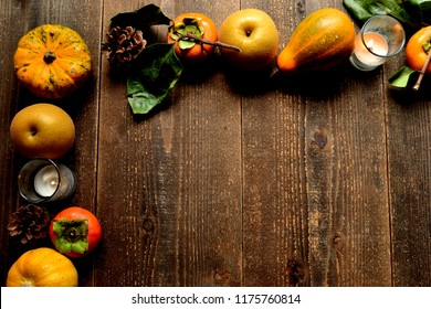 Pumpkins,persimmons and pears