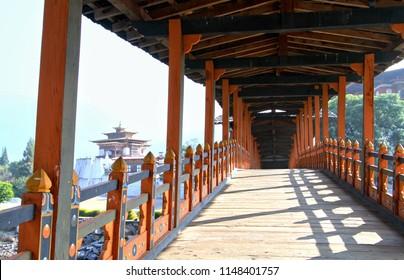 PUNA MOCCHU BAZAM : Antique  wooden bridge at Punakha Dzong Monastery or Pungthang Dewachen Phodrang  Bhutan