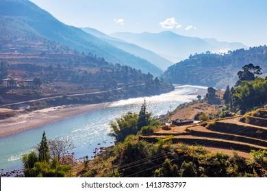 Punaka valley with Puna Trang Chu river, Bhutan. Punakha (Dzongkha) is the administrative centre of Punakha dzongkhag, one of the 20 districts of Bhutan.