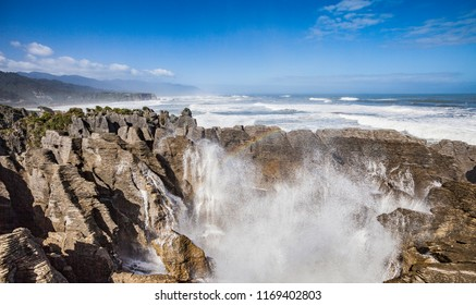 Punakaiki Pancake Rocks with blowholes in the Paparoa National Park, New Zeland,South Island