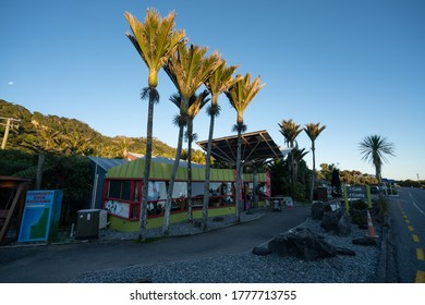 Punakaiki, West Coast / New Zealand - July 2 2020: The cafe and gift shop by the pancake rocks lookout point