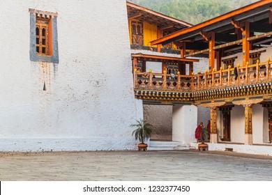 Punakha, Bhutan - 29 February 2016: Two buddhist monks at Punakha Dzong, Bhutan