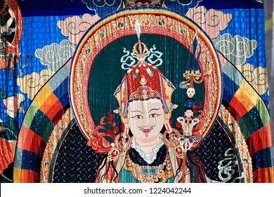 Punakha, Bhutan - Apr,16, 2015: Painting of the wheel of life at the Buddhist temple in the Punakha Dzong
