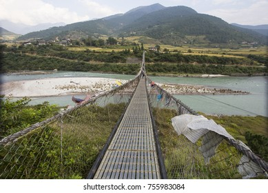 PUNAKHA (BHUTAN) - OCTOBER 2017: Punakha Suspension Bridge. The 160 meters suspension bridge is the longest in Bhutan.