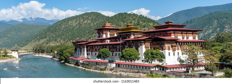 Punakha Dzong - Bhutan. Panoramic view of Punakha Dzong Fortress known as the Queen of Dzongs