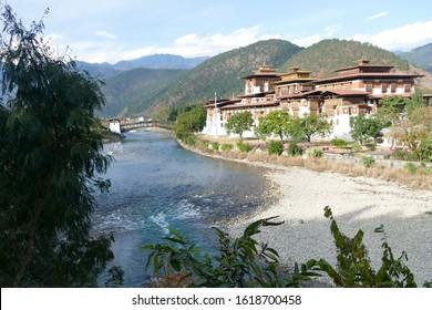 Punakha Dzong  fortress sits at the confluence of two rivers-Pho Chu and Mo Chu.  Punakha,  Bhutan