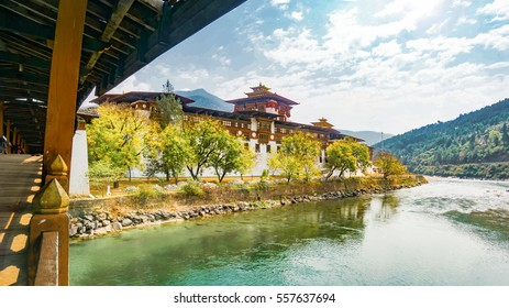 The Punakha Dzong Monastery in Bhutan Asia one of the largest monestary in Asia with the landscape river and mountains background, Punakha,Bhutan
