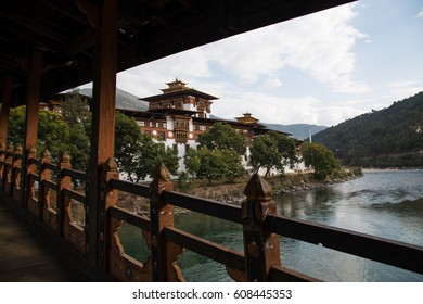 'Punakha Dzong (Punakha monastery)' view from the bridge in Punakha, Bhutan