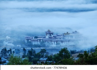 Punakha dzong in the morning with the mist and cloud is very beautiful scenic of Bhutan