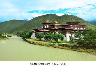 Punakha Dzong on the banks of a river, Bhutan