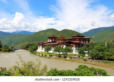 Punakha Dzong, the religious and adminstrative centre of Punakah Valley, built in 1637, is located between Pho Chu river and Mo River, with the cantilever bridge across the Mo River, Bhutan