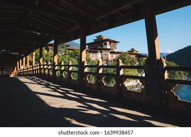 The Punakha Dzong with silhouette wood bridge. Punakha Dzong was the administrative centre and the seat of the Government of Bhutan until 1955.