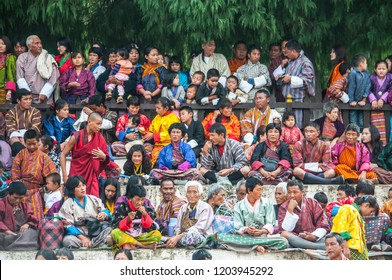 Punakha/Bhutan - October 14, 2016: Bhutanese people in traditional custom at the Punakha festival.
