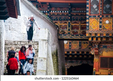 Punakha/Bhutan - October 2018: Tourists are visiting the Punakha monastery, Bhutan.