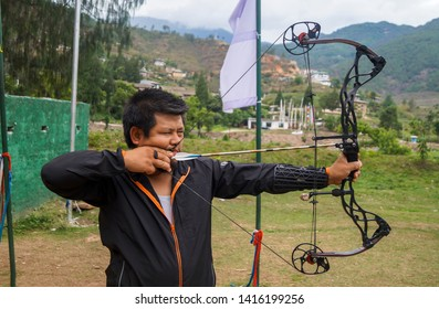 Punakha/Bhutan. taken on 06/01/2016 An Archer concentrating on his target. Archery is bhutan's national sport.